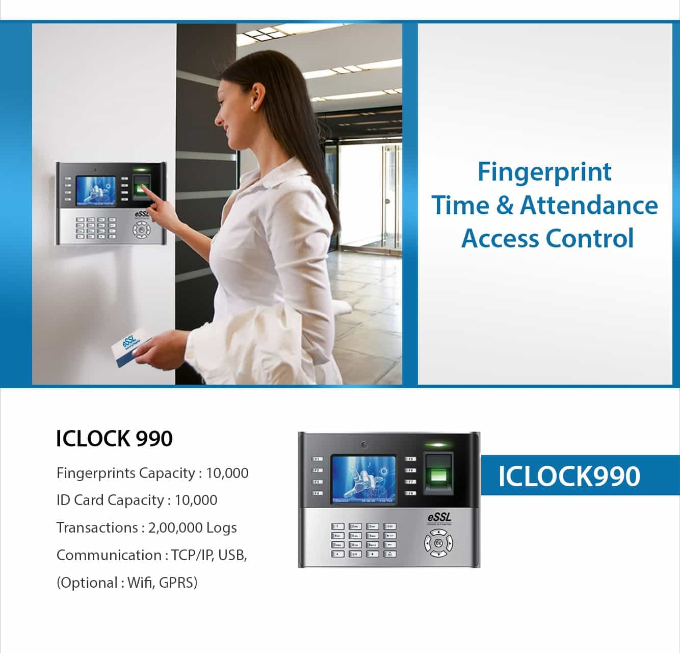 Iclock990 eSSL Fingerprint Time Attendance Machine for Enterprises