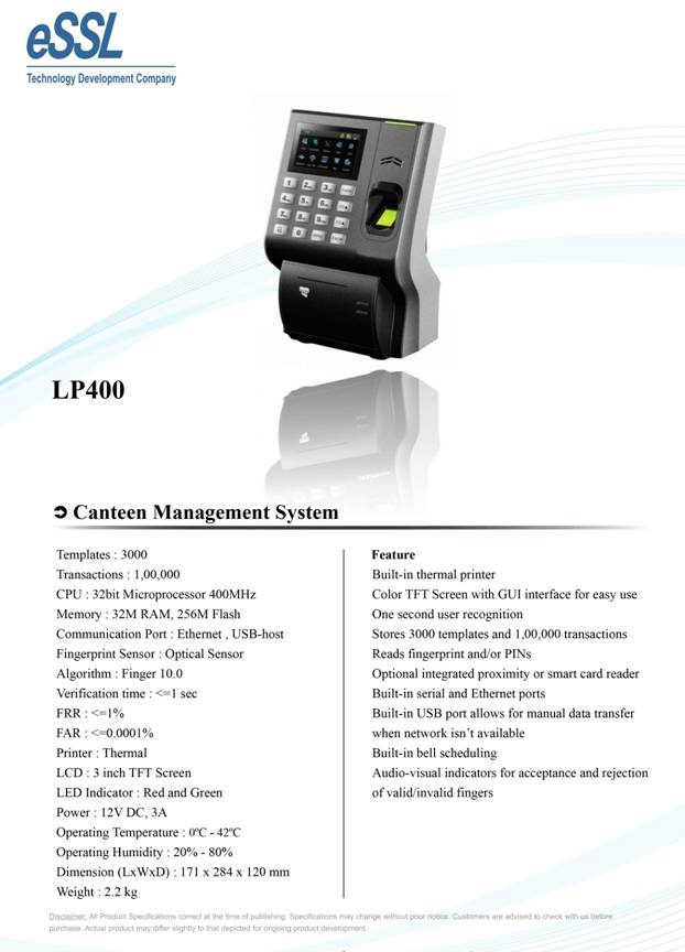 LP 400 Canteen Management Device