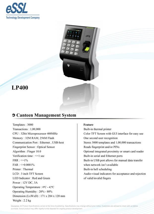 LP 400 Canteen Management Device