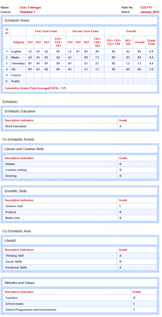 CBSE CCE Report Card Software