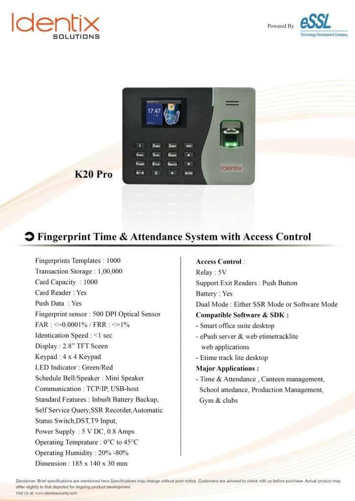 identix k20 pro essl attendance machine with battery and