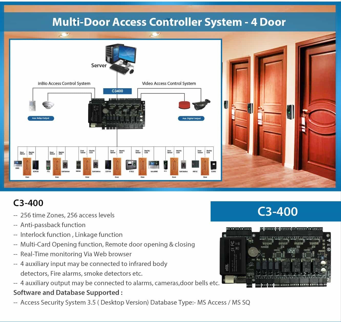 C3400 RFID Card 4 Door Controller