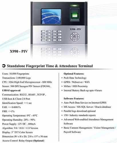PIV sensor attendance machine