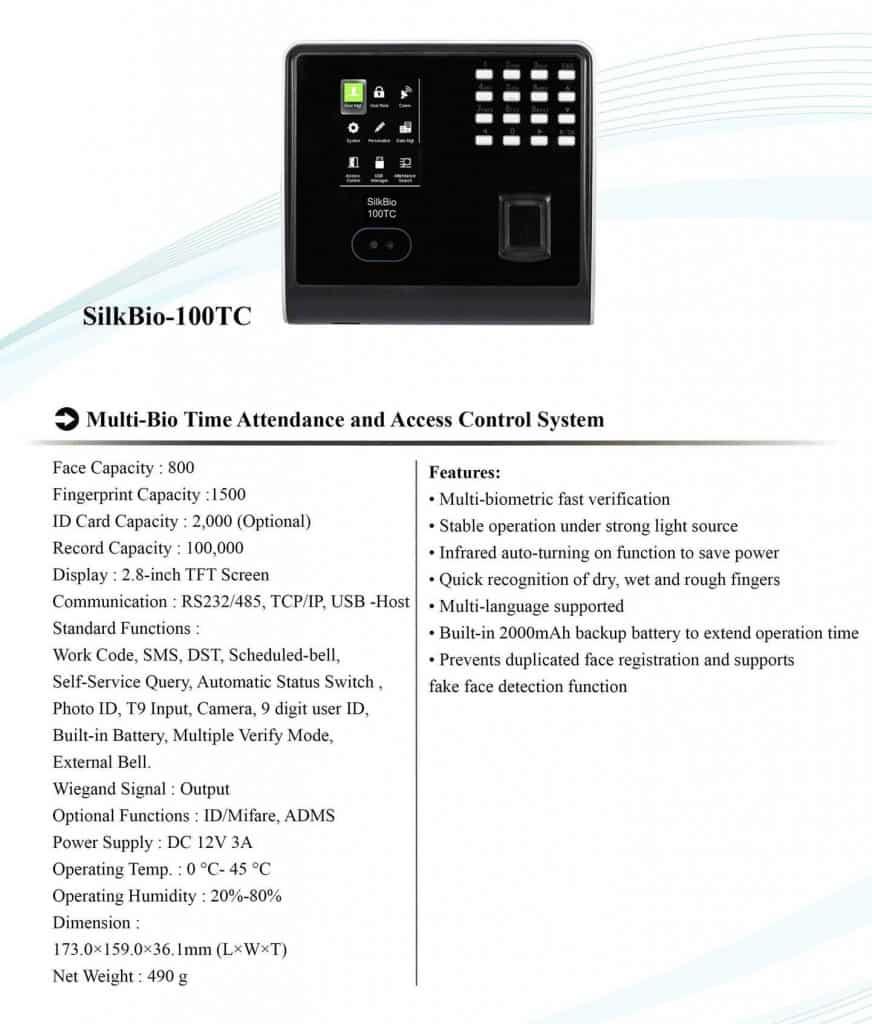 Biometric attendance machine time attendance eSSL SilkBio 100TC features