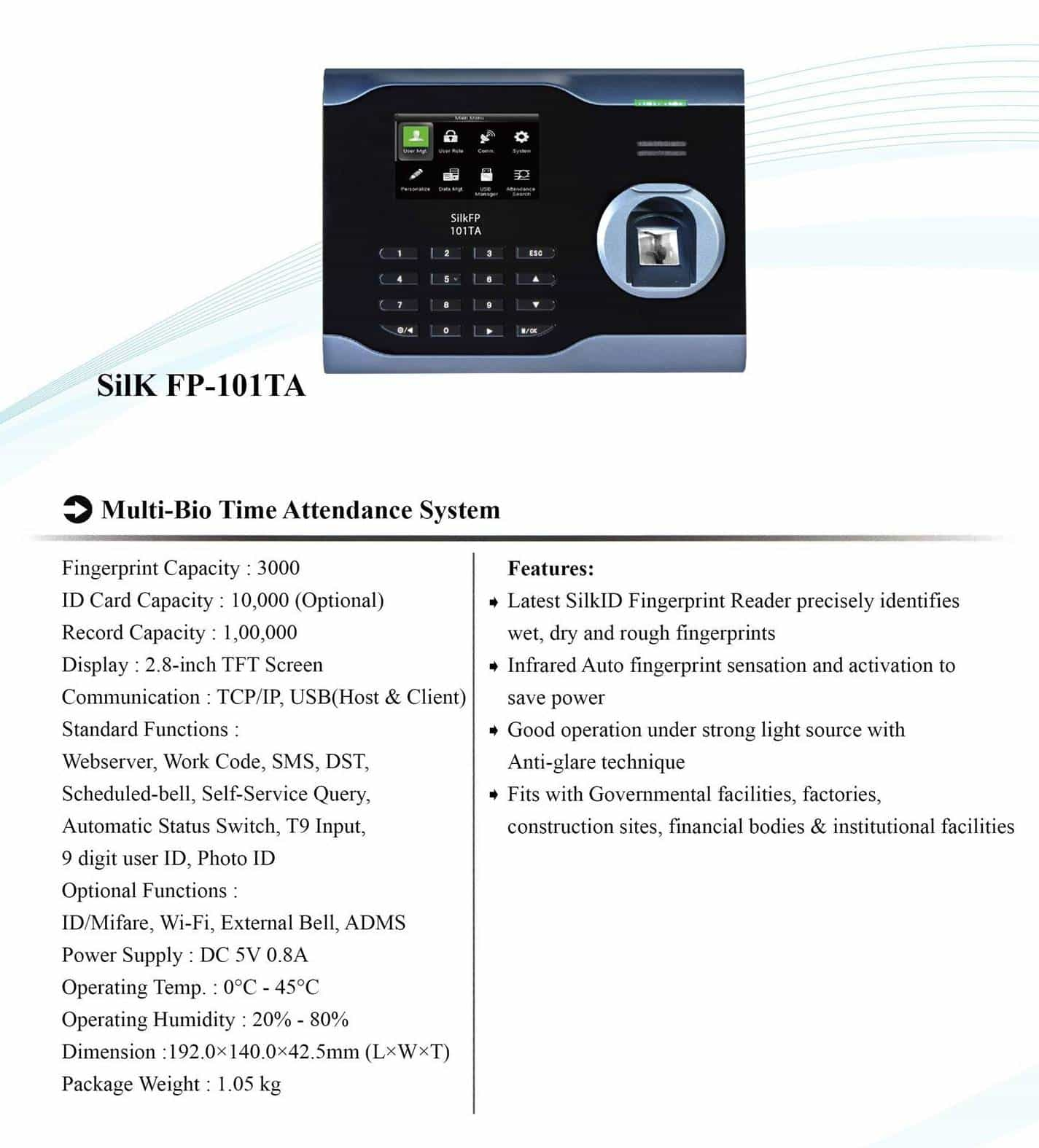 Time Attendance System eSSL SilK FP-101TA Features