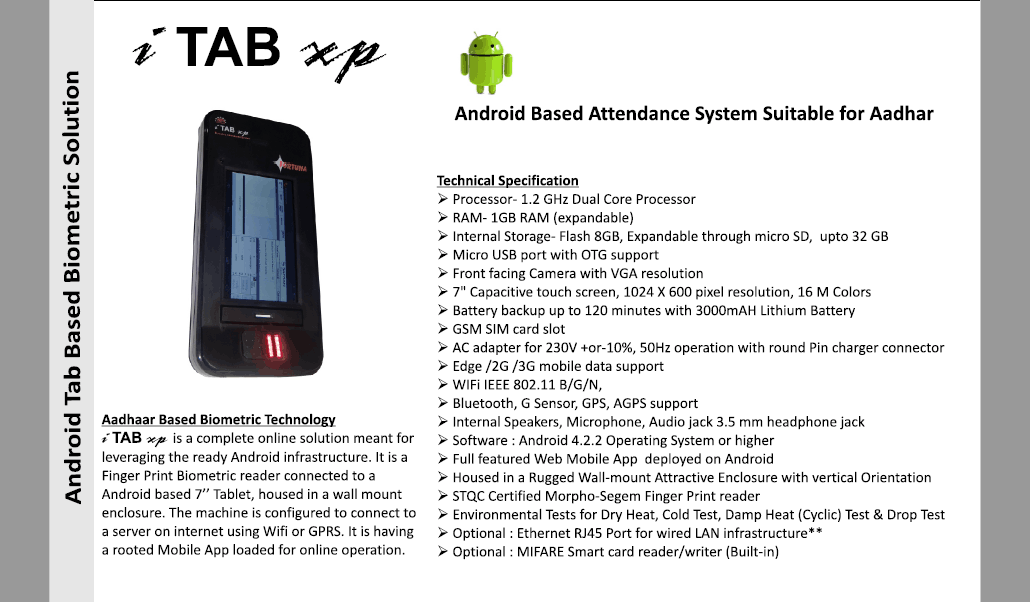 Aadhaar based Biometric Attendance System Suppliers i TAB xp