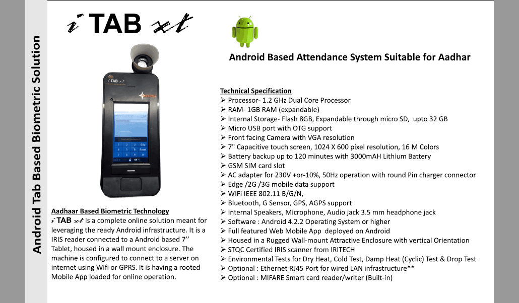 Aadhaar based Biometric Attendance System i TAB xt