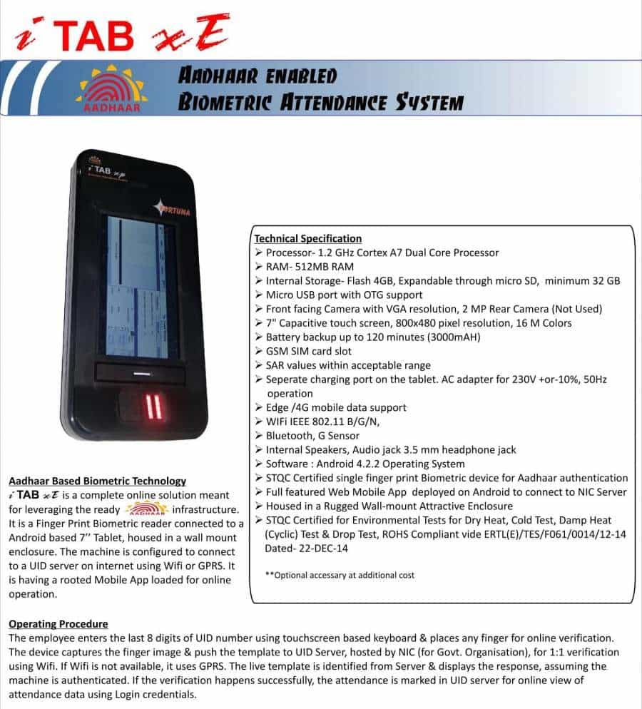 Aadhaar Enabled biometric attendance system iTAB xE Catalog 4G-1