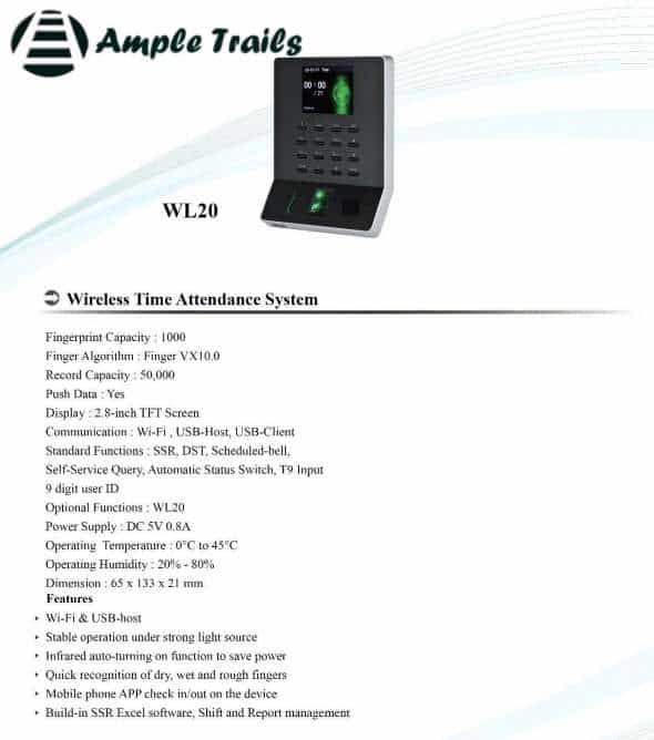 Wifi Attendance Machine WL20 Brochure