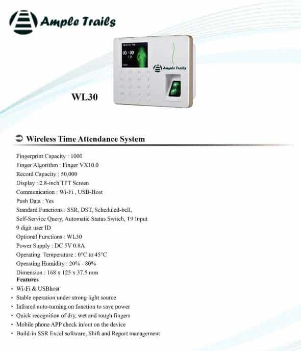 Wifi Biometric Attendance Machine Brochure WL20