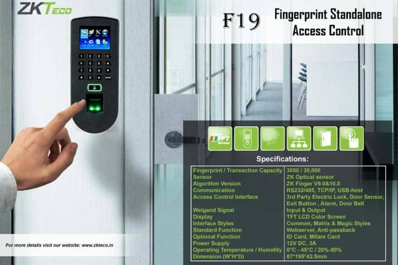 Essl F19 Zkteco Attendance Access Control Machine Biometric Fp