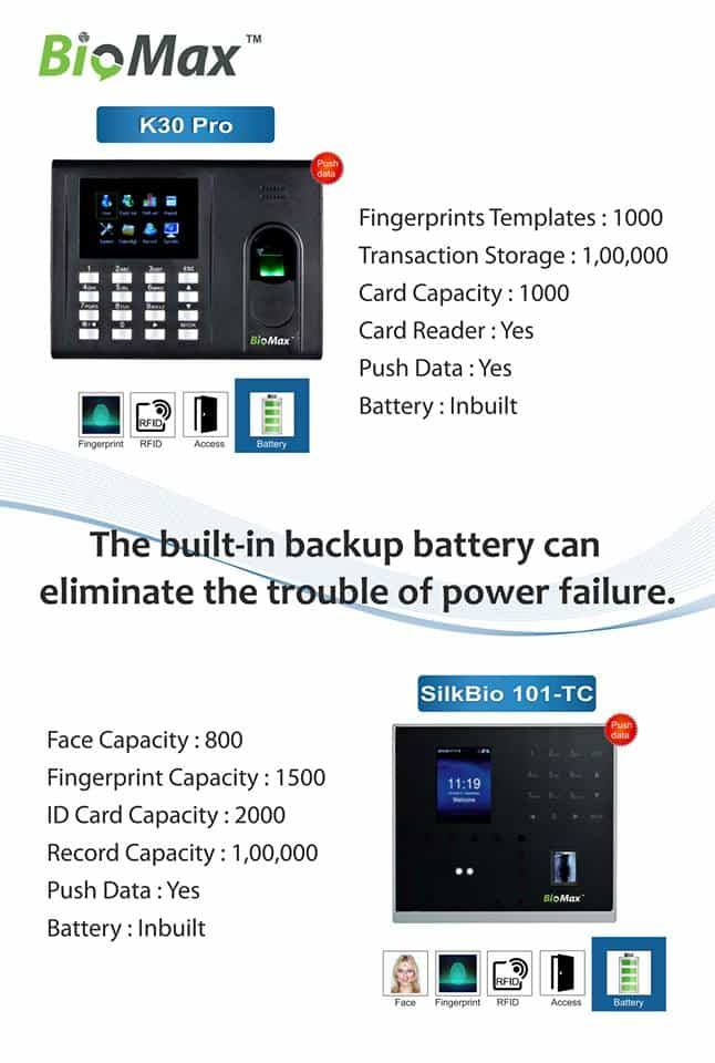 Biometric Machine with Battery Backup