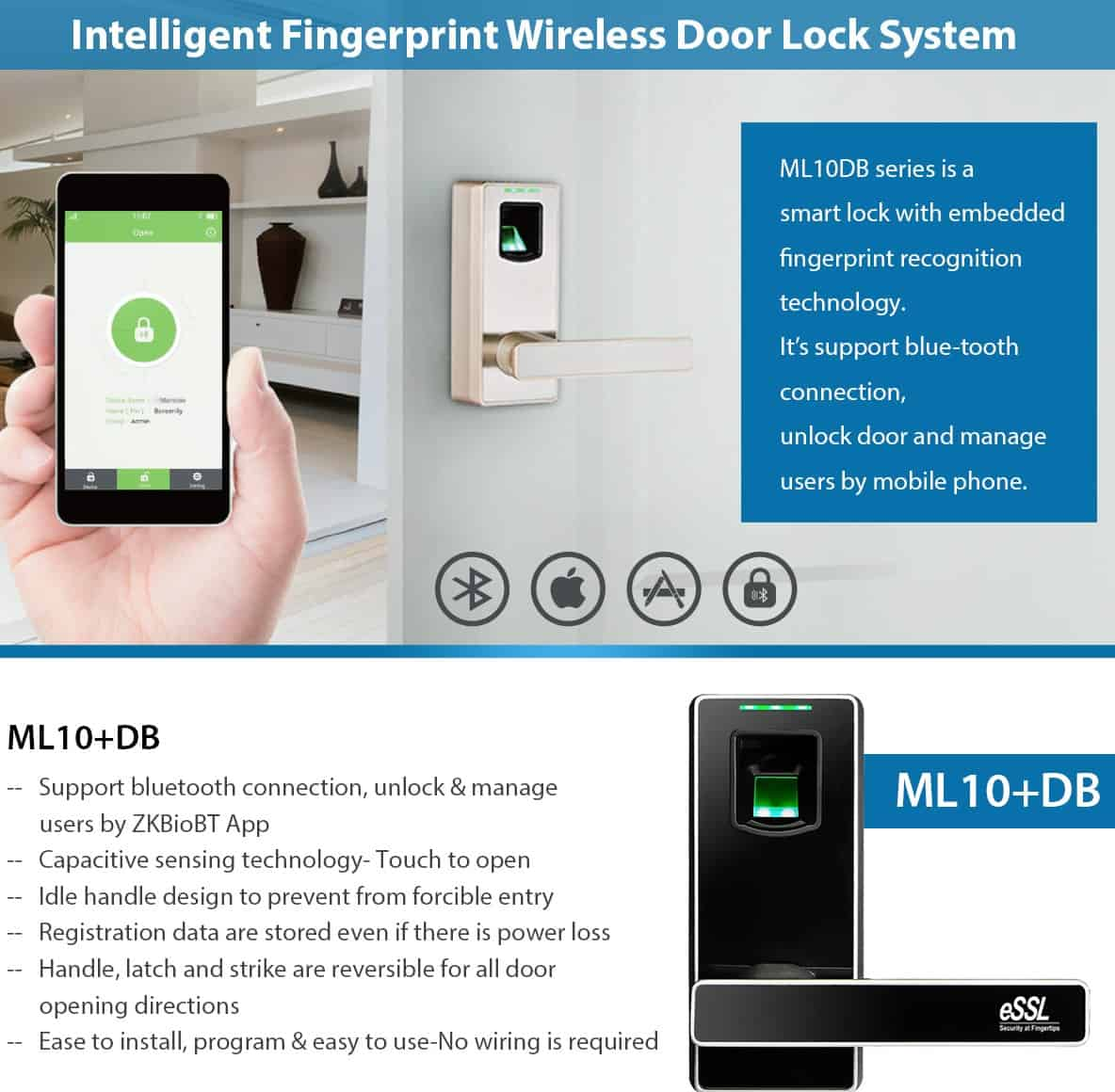 Fingerprint Door Lock with Blue-tooth eSSL ML10DB