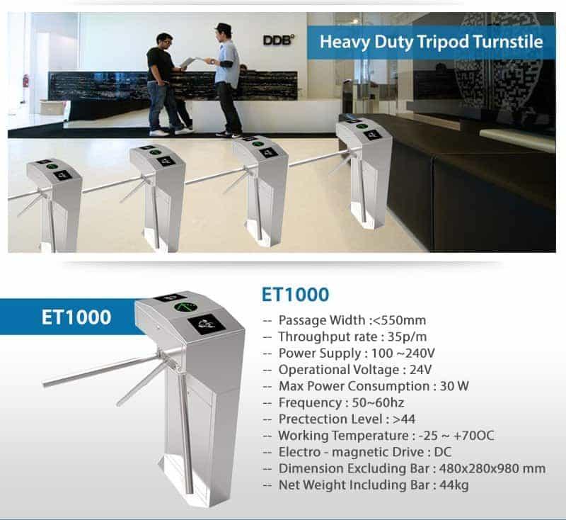 ET 1000 eSSL Heavy Duty Tripod Turnstile