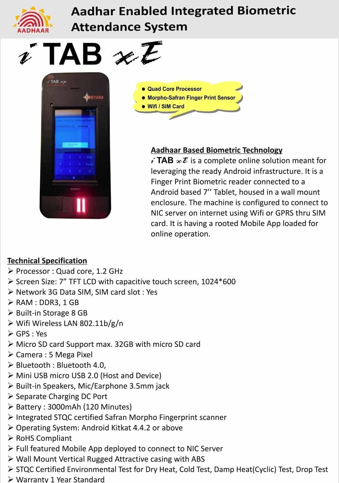 Aadhaar Enabled biometric attendance system iTAB xE Catalog