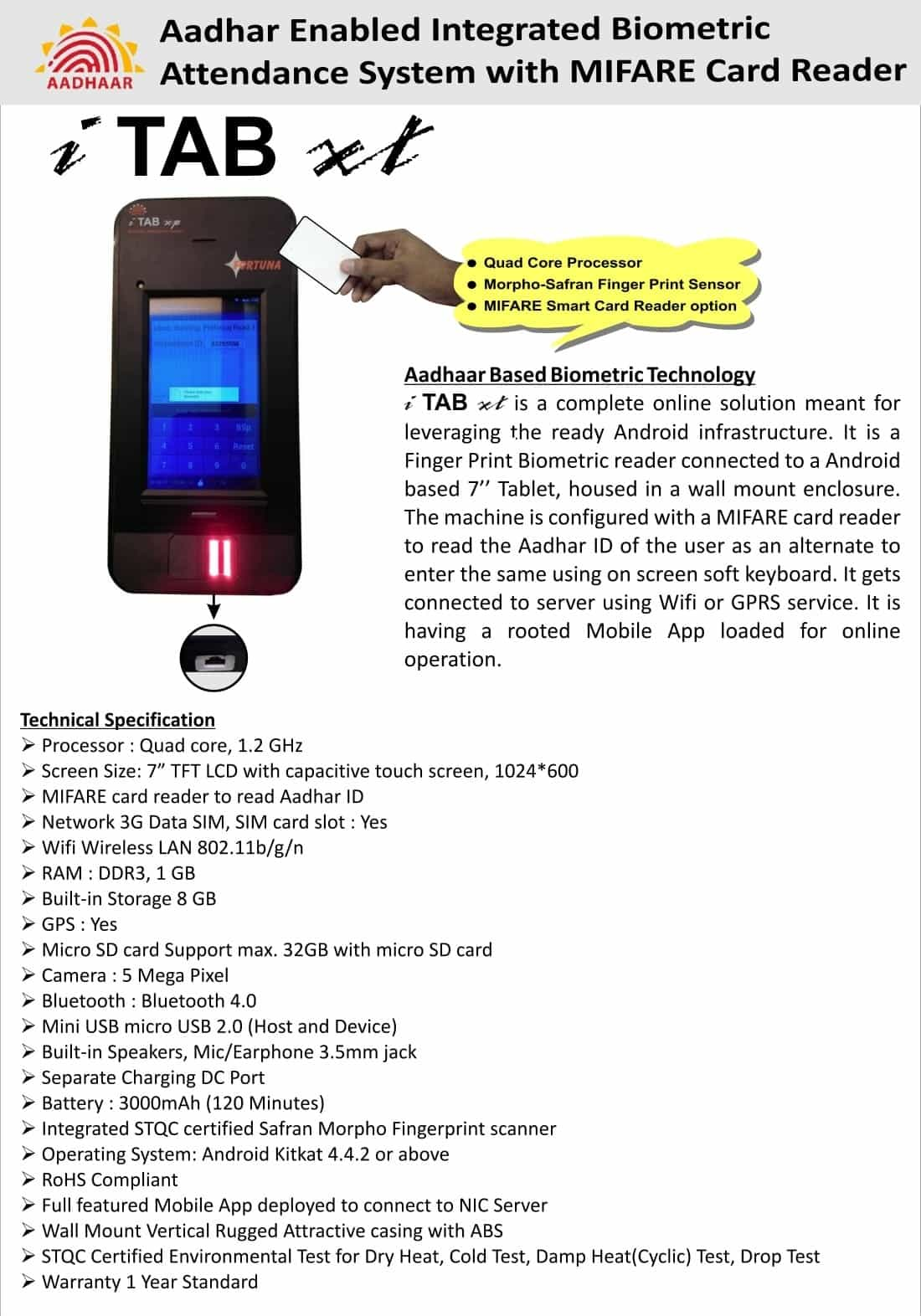 Aadhaar based Biometric Attendance System i TAB xt Catalog