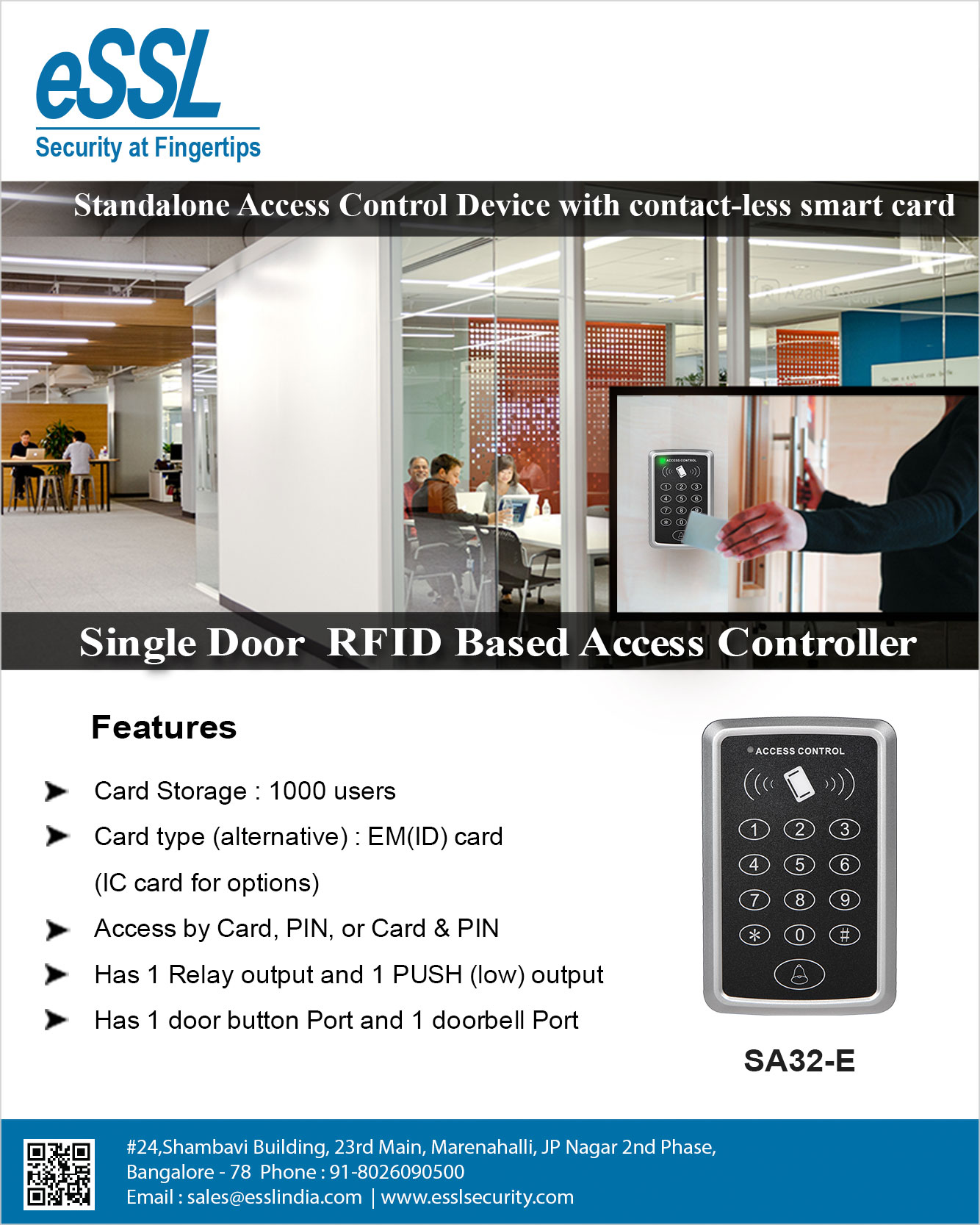 eSSL SA32 Single Door Access Control System