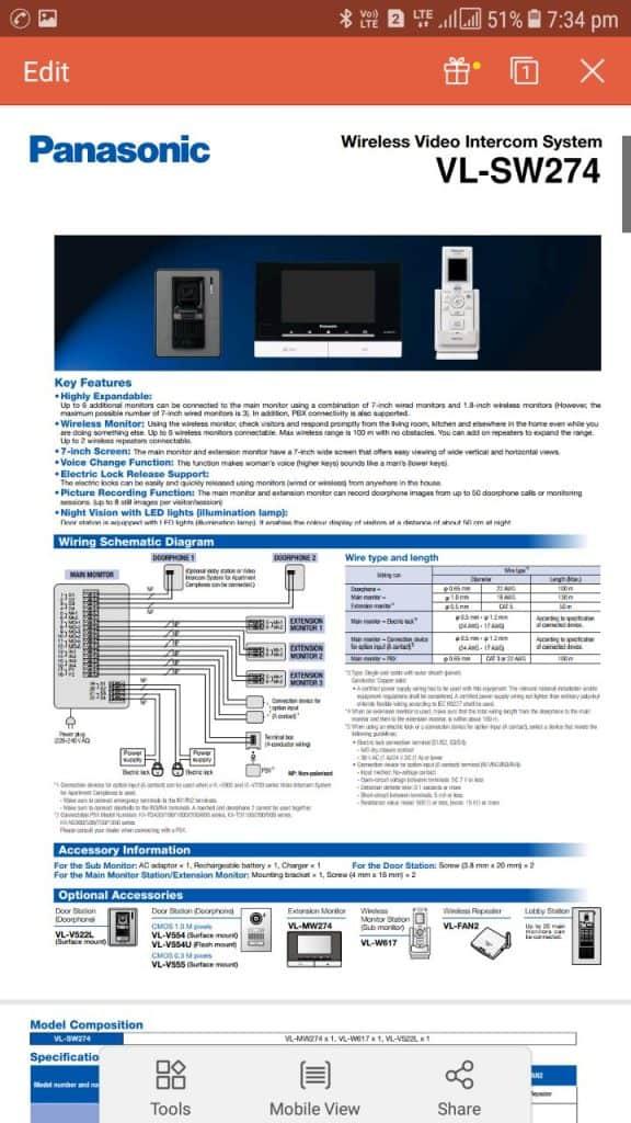 Video Intercom System VL-SW274 Panasonic