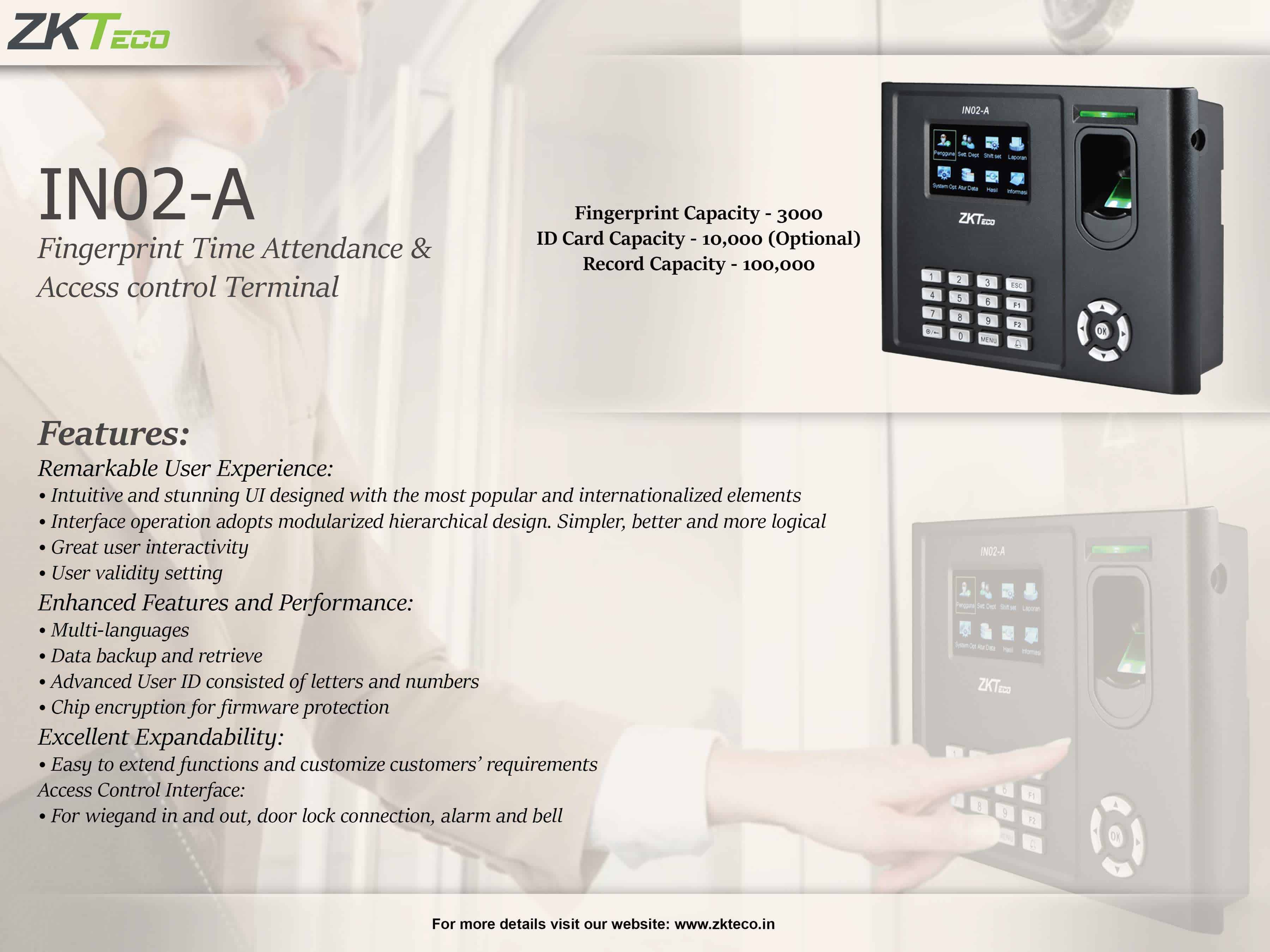 ZKTeco's Fingerprint Time Attendance and Access Control Terminal