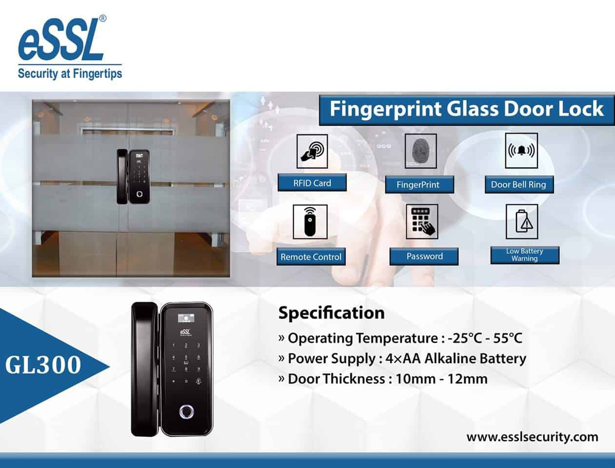 Features eSSL Fingerprint Door Lock System GL300