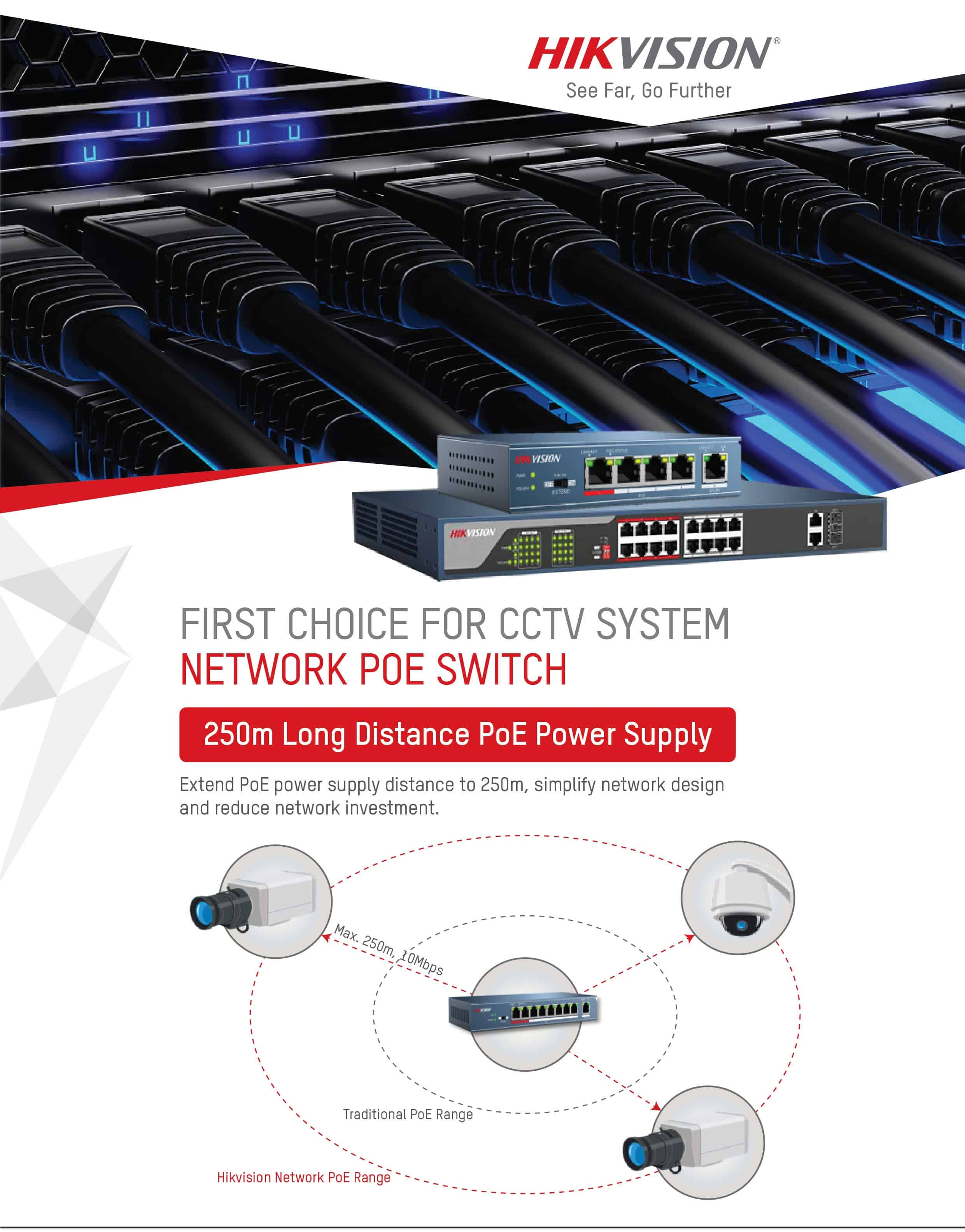 Hikvision CCTV System Network POE Switch