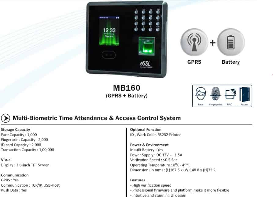 ESSL MB160 Face Fingerprint Attendance Machine with Battery GPRS