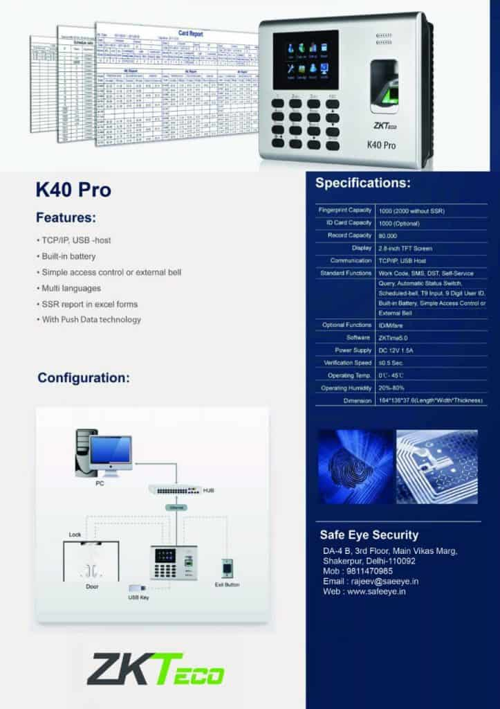 ZkTeco K - 40 Finger Print With Door Access Control System
