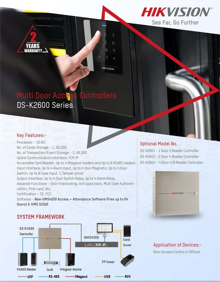 Hikvision's Multi Door Access Controllers DS-K2600 Series