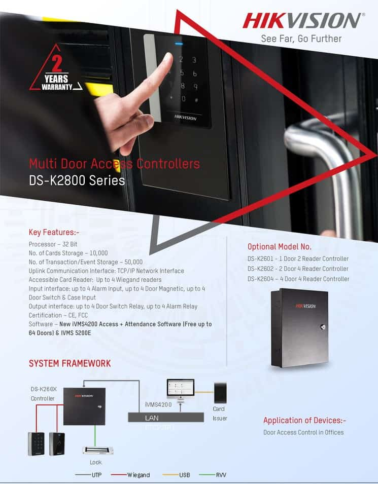 Hikvision's Multi Door Access Controllers DS-K2800 Series