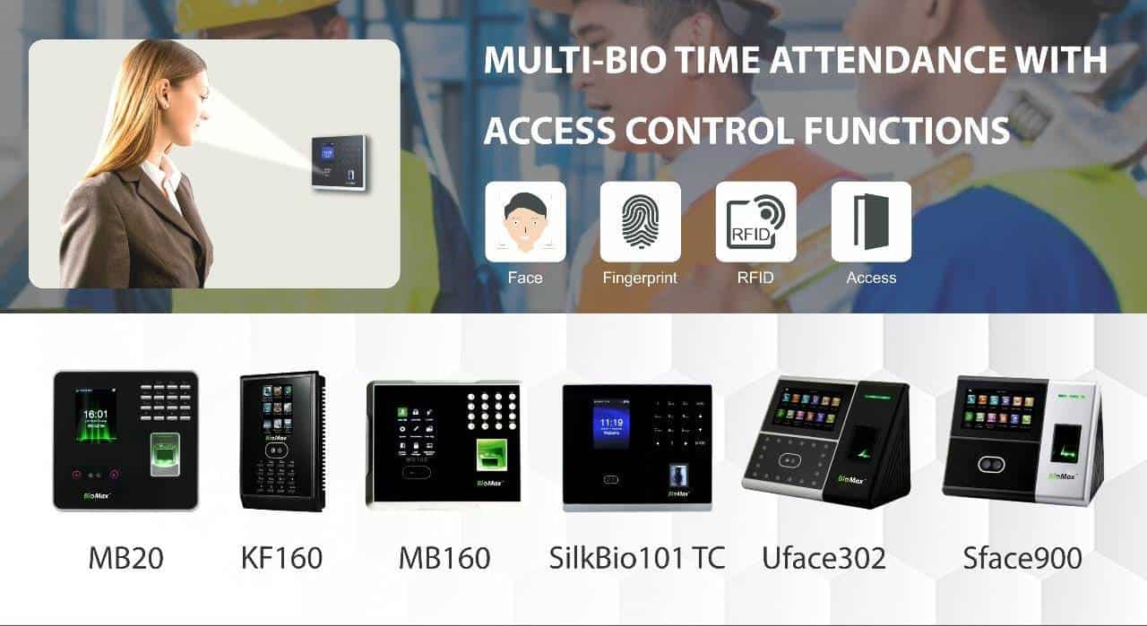 Multi Bio Time Attendance Access Control Functions