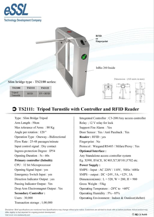 Tripod Turnstile with Controller and RFID Reader