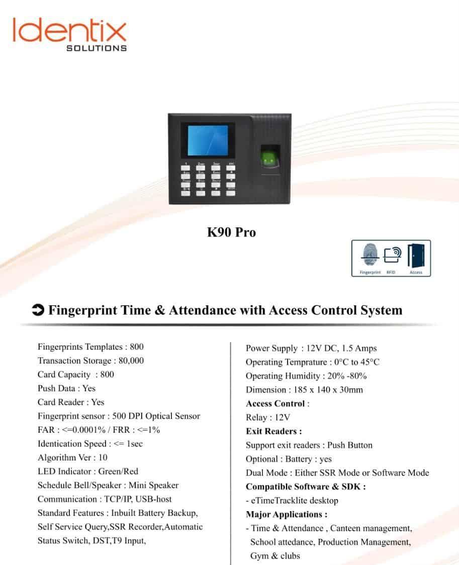 eSSL K90 Pro Fingerprint Time Attendance Access Control System
