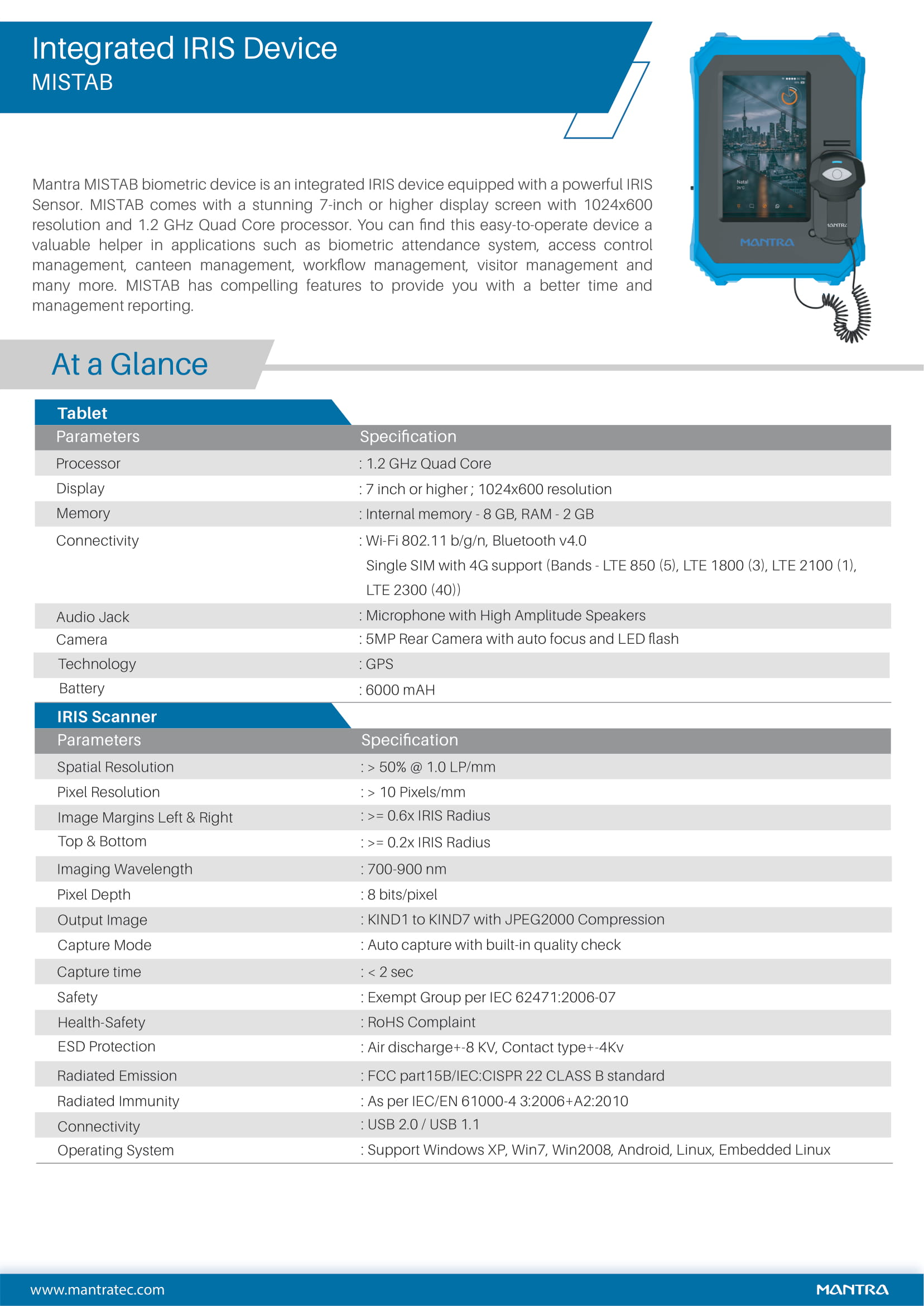 MISTAB Iris Tab Specifications
