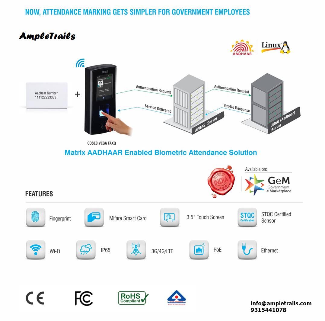 Aadhaar biometric attendance machine