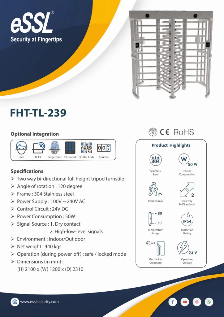 Specifications of Full height turnstile