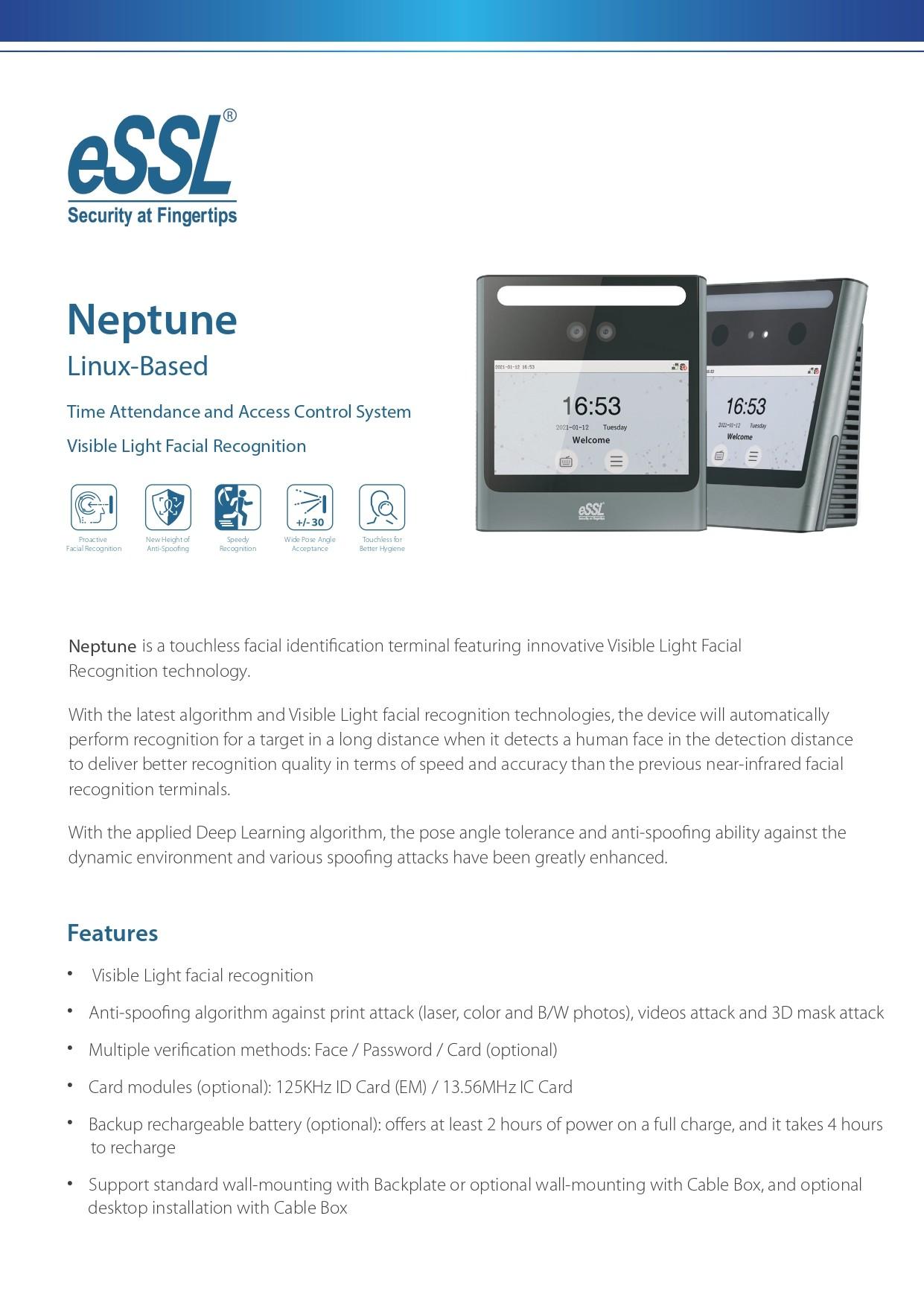 eSSL AIface Neptune Face Attendance System