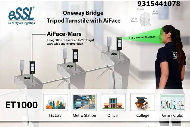 Tripod Turnstile Gate with Face recognition essl Aiface Mars